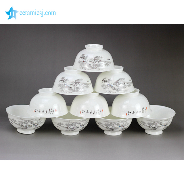 RZHY02-E Snow white town mark white bone china individual ceramic dinner bowl