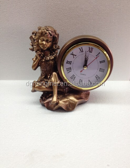 small angel polyresin decorative clock