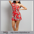 Latest Ladies Romper Design Floral Print Asymmetric Frill Trim Off Shoulder Single Strap Ruffle Playsuit Jumpsuit