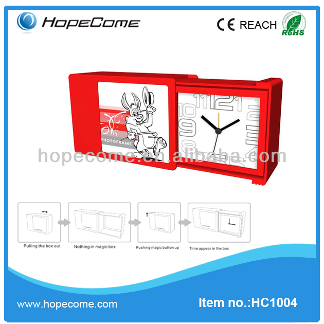 (HC1004) plastic magic rabbit alarm clock