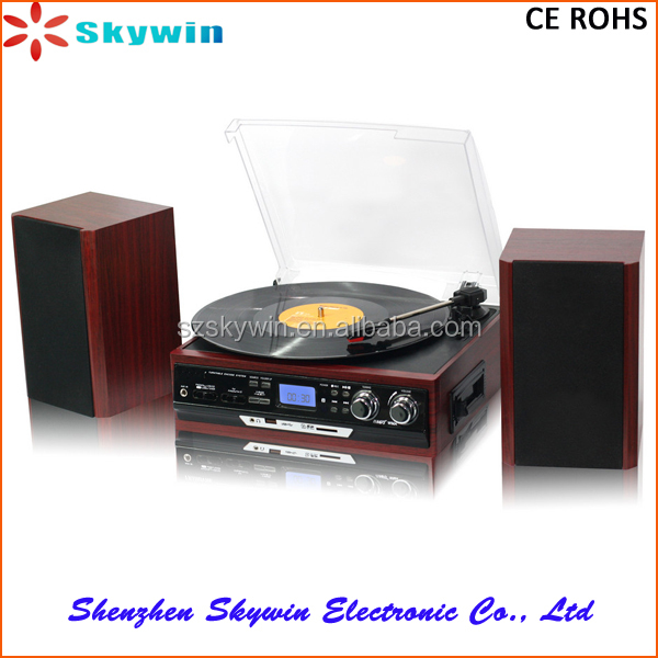 Shenzhen Skywin Retro Turntable Record Player With Radio, Cassette Player , USB/SD Slot & External Stereo Speaker