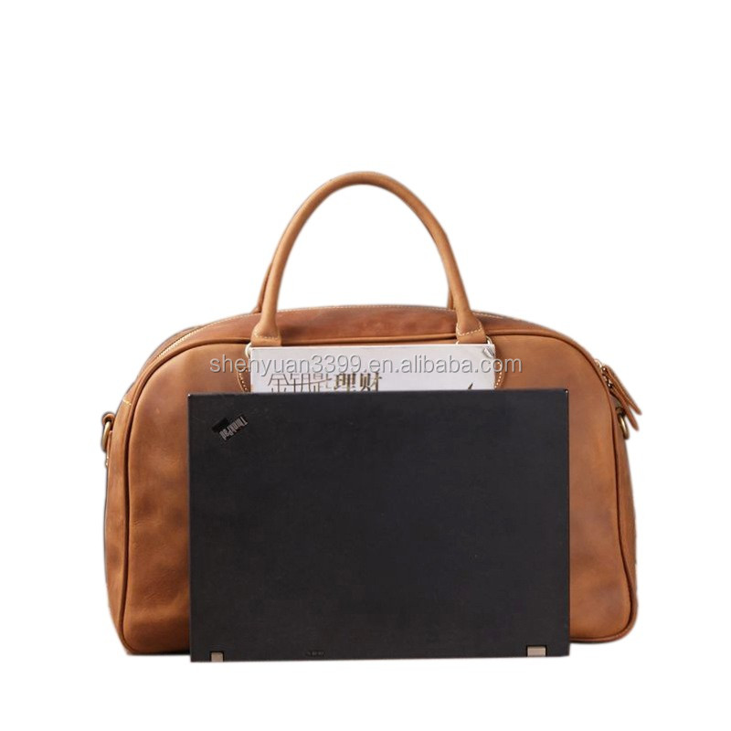 2017 China supplier genuine leather travel bags, fancy brown luggage bags,unique bussiness tirp bag online shopping