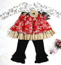 wholesale Red, pink and white floral skirt and black ruffled hem comfortable leggings.