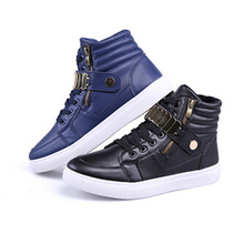 Hot Men Shoes Fashion PU Leather Sneakers High Cut Buckle Hip-hop Shoes