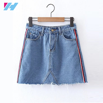 wholesale 2017 hot new products women Striped Side A Line Denim Skirt