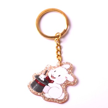 customized gold glitter fancy cute bunny keychain in rabbit charms designs