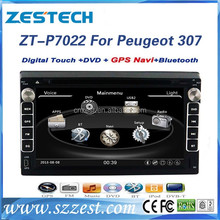 7 inch car audio for Peugeot 307 car dvd player with double din car stereo steering wheel control GPS DVD USB/SD AM/FM