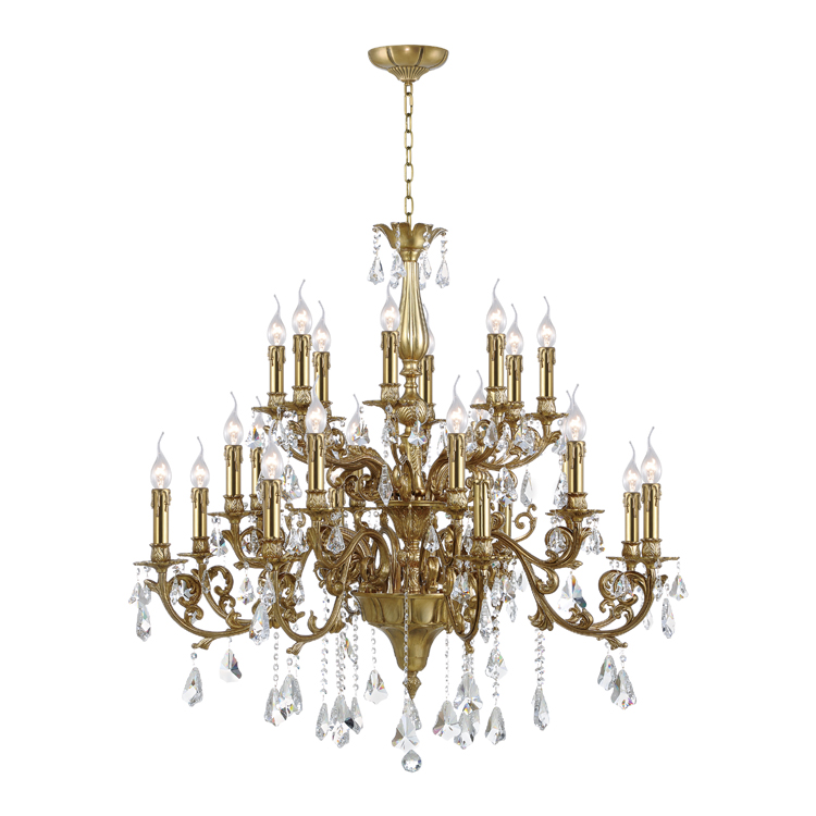 American Style 24 Arms Antique Brass Candle Crystal Chandelier For