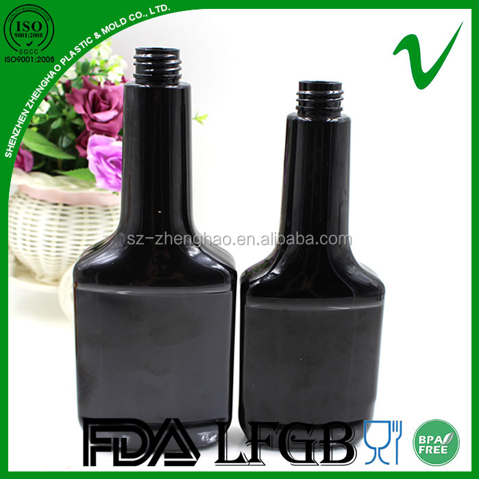 HDPE biodegradable bpa free empty flat gasoline plastic bottle long neck with cap for engine motor lube packaging supply