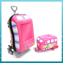 Wholesale 3D EVA kids travel trolley luggage bag with backpack