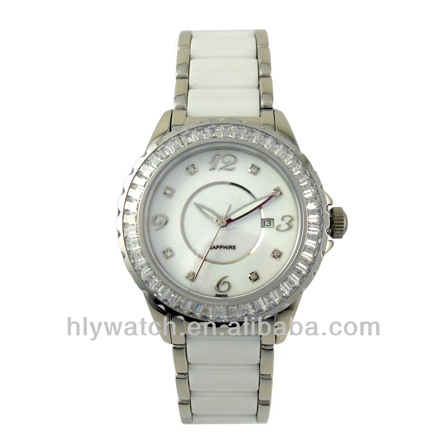 High quality royal swiss watch movement,noble white women ceramic beads band watch hot wholesale in China ceramic watch factory