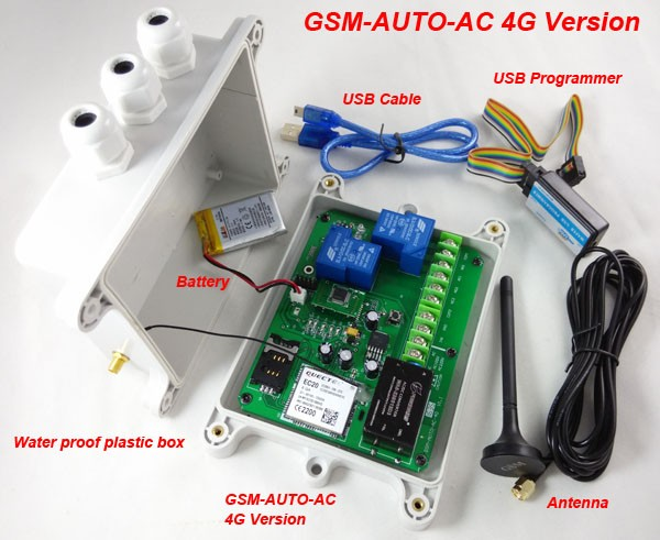 AC Version GSM-AUTO 4G Version GSM / 3G / 4G remote relay switch and timing controller box