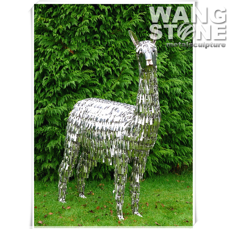 Cute Garden Stainless Steel Animal Metal Alpaca Sculpture