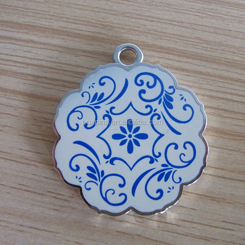 flower silk screen printing blue and white porcelain jewelry ornament tag for necklace