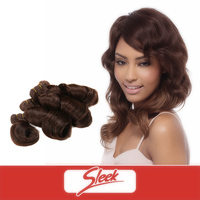 Sleek Top Grade Natural Virgin Human Hair Weaving Indian Remy Bouncy Curl All in One