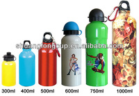 BPA free Non metallic taste, Color coated, promotional High Purity aluminum sports water bottle w/ carabiner