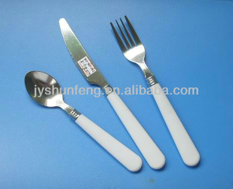 Wholesale Promotion Stainless Steel Cutlery Cheap Flatware Set With Customized Plastic Handle