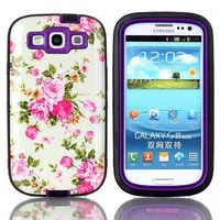 Flower paterm 3 In 1 pc tpu hybrid armor case for samsung galaxy s3,housing replacement for samsung galaxy s3