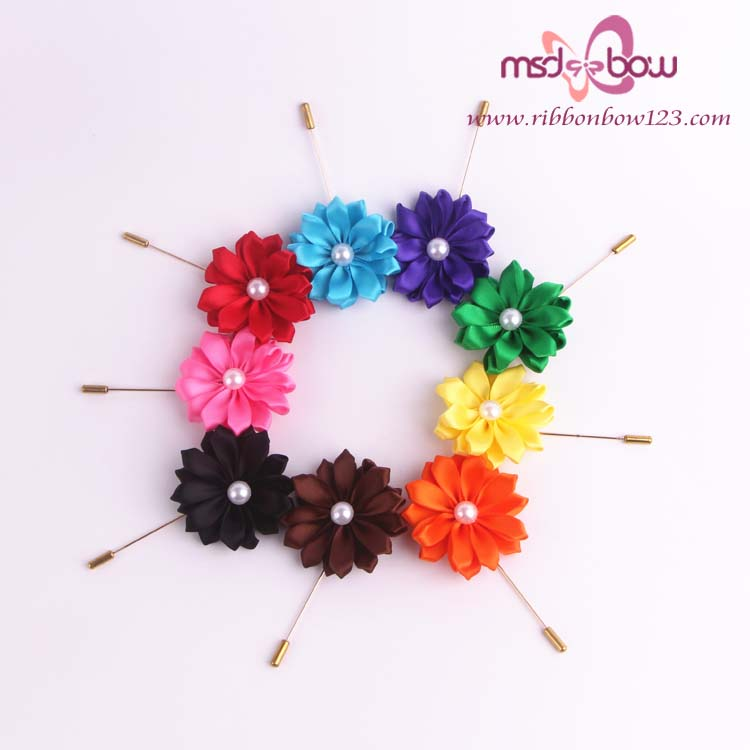 wholesale handmade satin fabric brooch pins