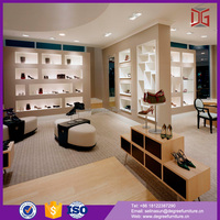 Wall Mounted Furniture Retail Wooden Shoe Store Display Showcase