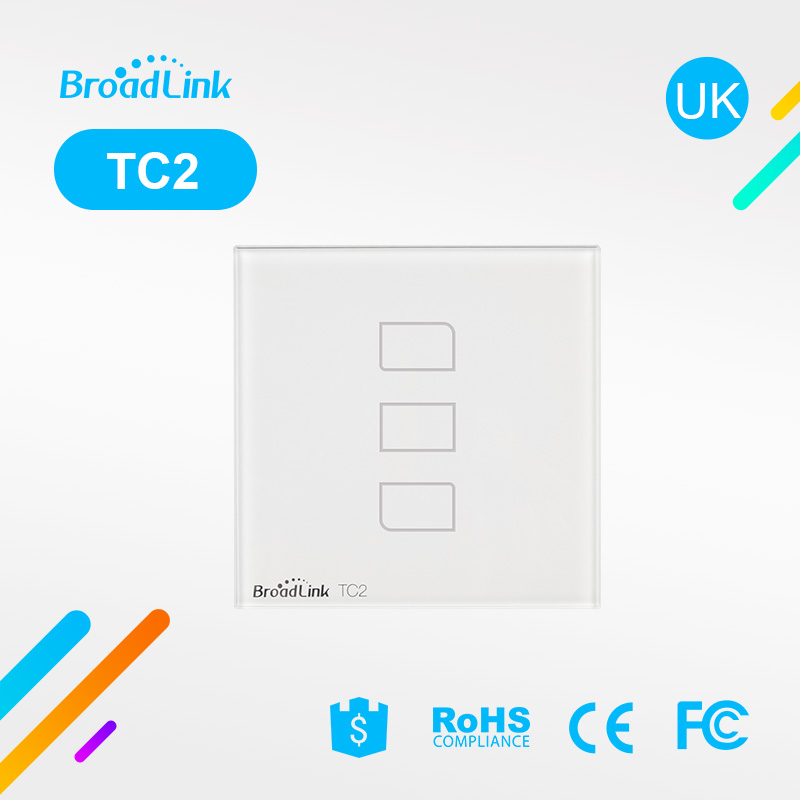 BroadLink TC2 Dubai luxury touch screen glass wall switch price wireless rf remote 3 gang 3 way electric wifi wall switch