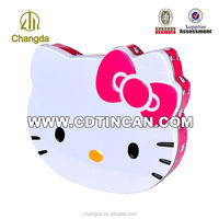 Lovely hello kitty shaped tin storage containers manufacturer
