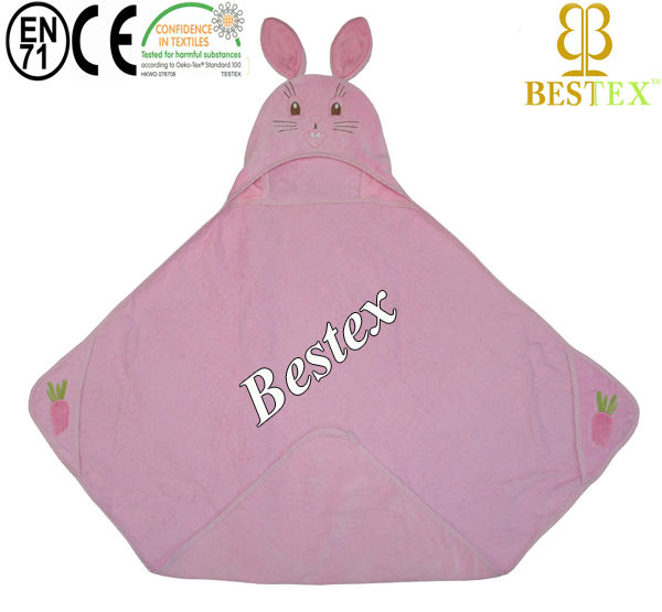 Funny Cute Lovely Pink Infant Saliva Towels Newborn Wear Burp Cloths with animal embroidery hood