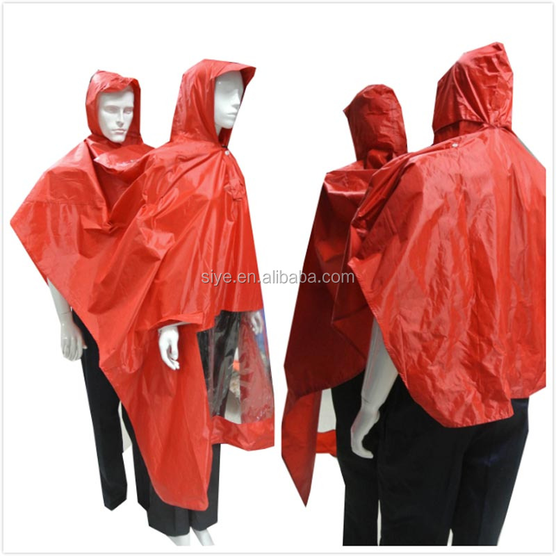 100% waterproof pvc raincoat polyester rain poncho for bicycle motorcycle