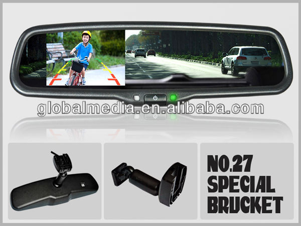OEM-3.5inch car rearview mirror monitor with camera display auto dimming + parking sensoravailable