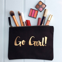 2017 fashion personalized small black make up bag eco beauty cosmetic bag canvas