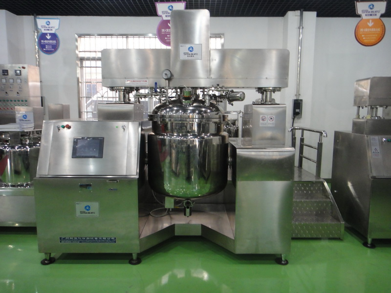 Vacuum homogenizing and emulsifying cosmetic facial cream making machine