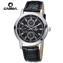 Men watch black trend design japanese quartz movement chronograph day week hour genuine leather for men