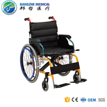 Factory supply CE/ISO13485 aluminum manual lightweight wheelchair with half folding backrest