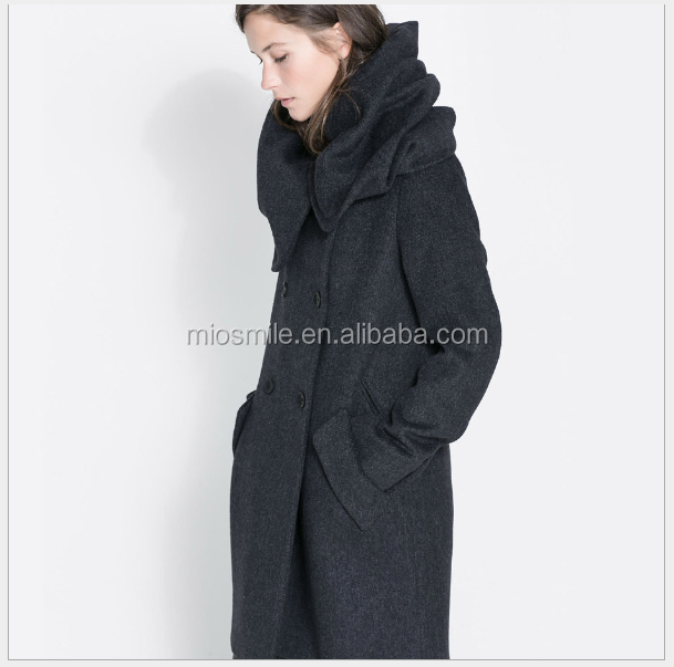 S30904A Fashion women's long sleeve woolen coat high collar wraps double lines of button coat