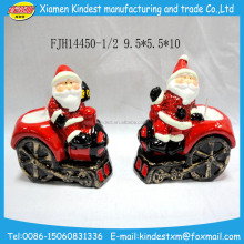 Wholesale ceramic christmas ornaments with santa sitting the sleigh