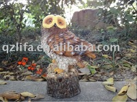 polyresin owl crafts for home decor/polyresin sensor singing owl crafts