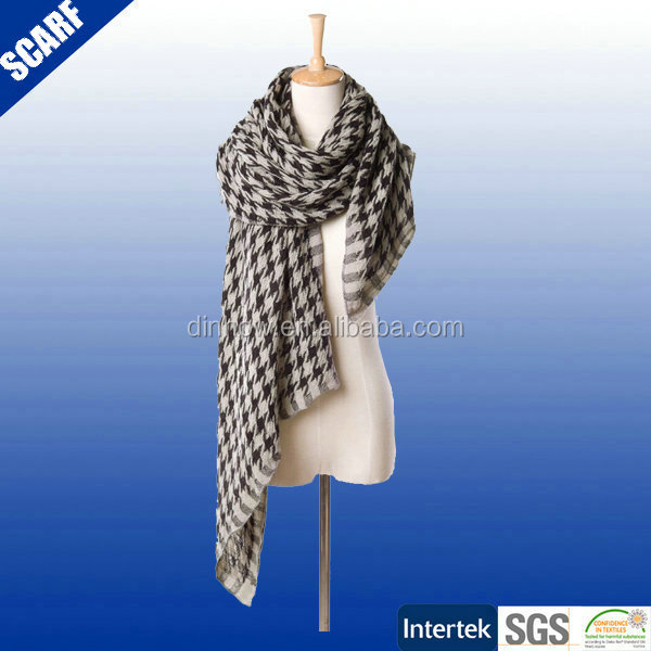 Fashion Christmas Ladies printed shawl/ 50%polyester 50% acrylic shawl scarf/knitted shawl
