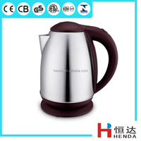 CE GS Approval 1.8L Brown Color Stainless Steel Cordless Electric Water Kettle with water gauge/ HDK-214A-B
