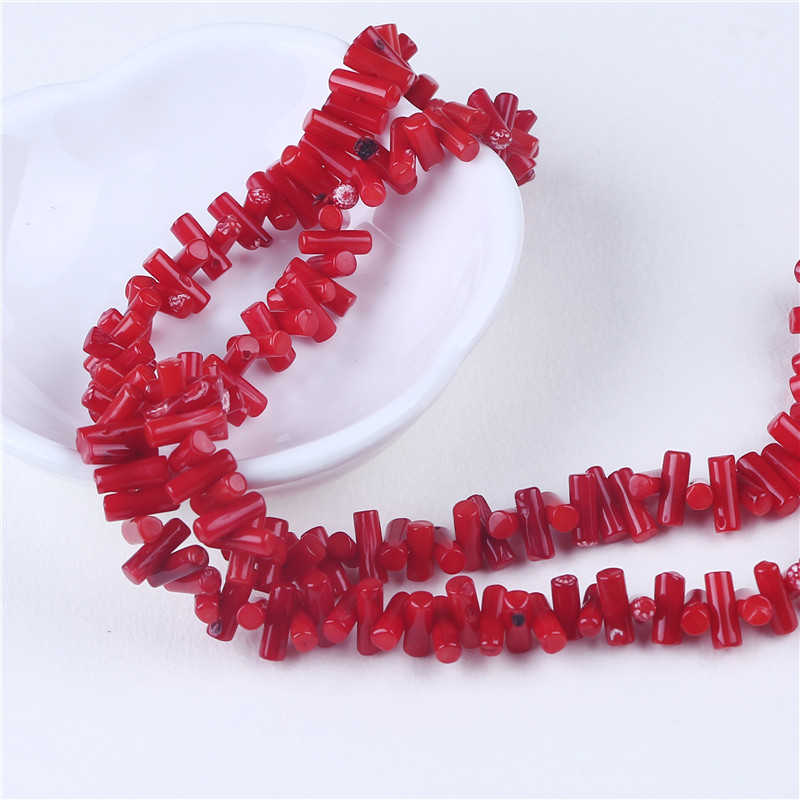 3*8mm red coral cylinder bead necklace