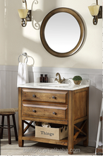 America antique style solid wood oak wood small bathroom vanity
