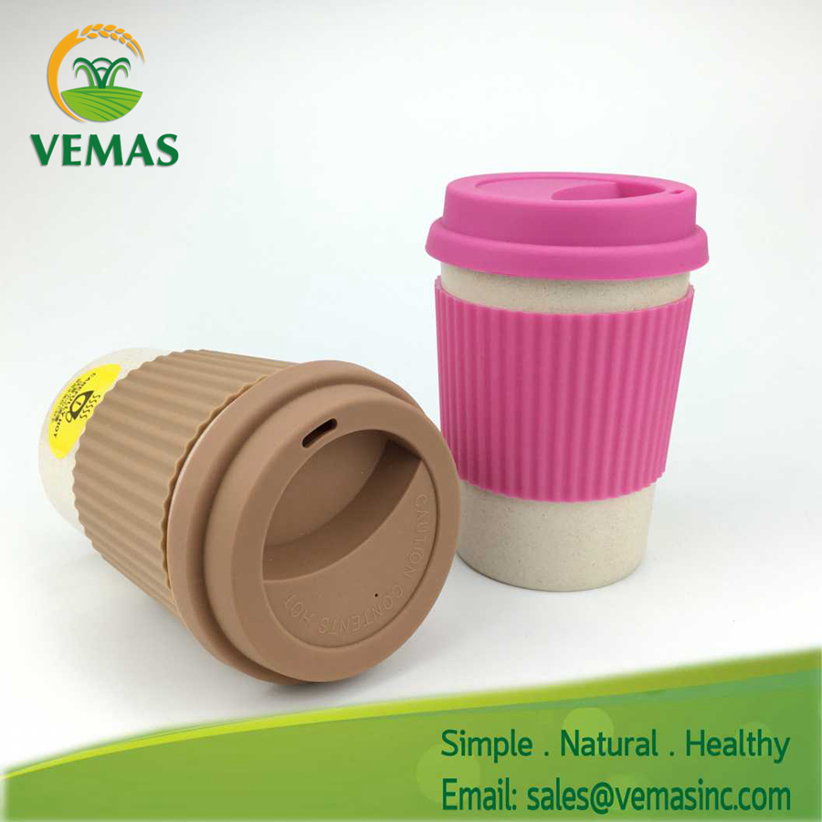 Plastic Coffee Cup With Silicone Lid Personalized Brand Printed Bamboo fiber Coffee Mug with lids