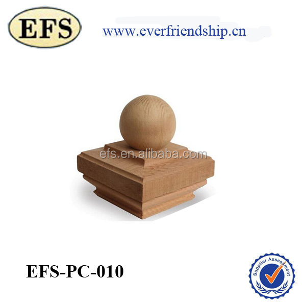 fashionable decorative wood fence post cap with a ball finial on top