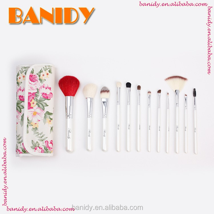 12Pcs White Make Up Brushes with Makeup Brush Kit Own Brand