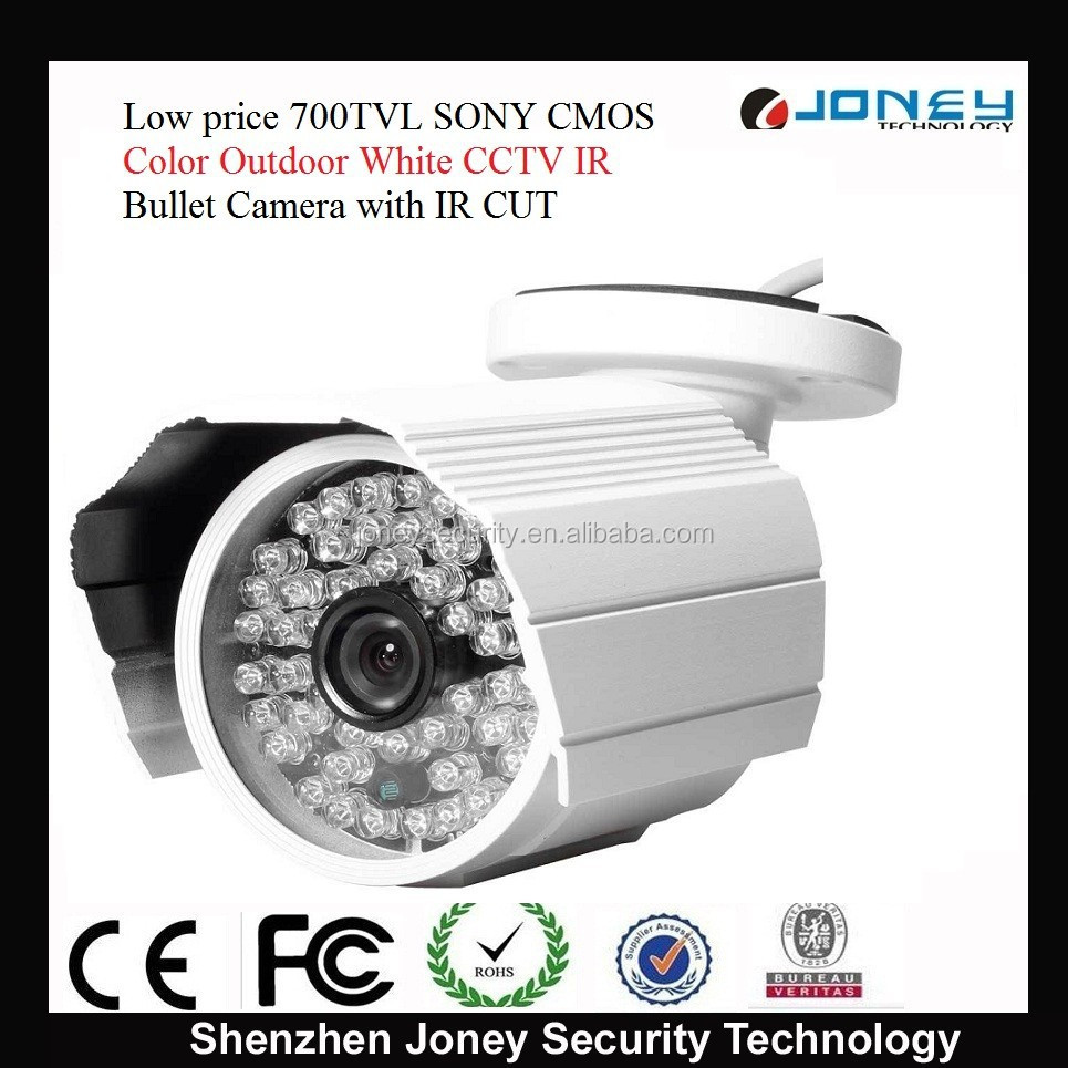 Low price 700TVL SONY CMOS Color Outdoor White CCTV IR Bullet Camera with IR CUT