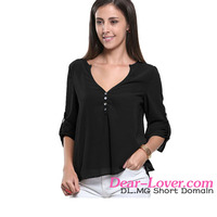 Sexy V-Neck Button Detail Dip Back Chiffon Tops women casual blouse designs