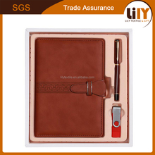 2017 New Hard Cover PU Leather Notebook With Ball Pen And U-disk