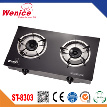 Tempered glass kitchen king two burner gas stove
