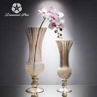 Most popular wedding vase for decoration glass fiber vase flower stand party and wedding decoration