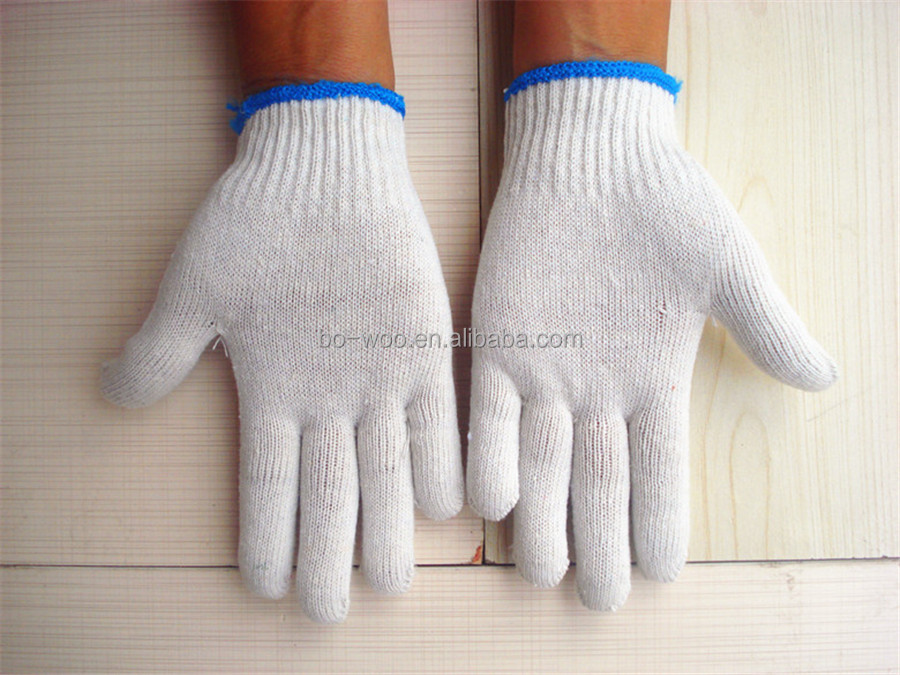 13G polyester white cotton glove protective cotton working glove