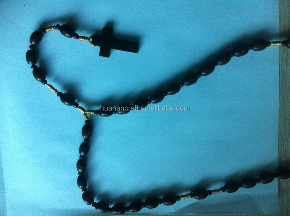Wholesale Catholic Religious Olive Wood Rosary Black Bead Necklace